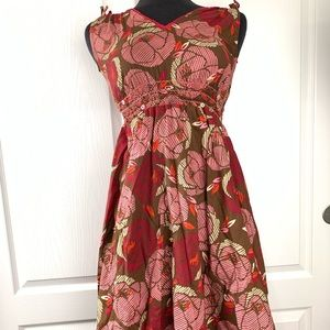 MARKS AND SPENCER Girl's Red Floral Dress Sz 10